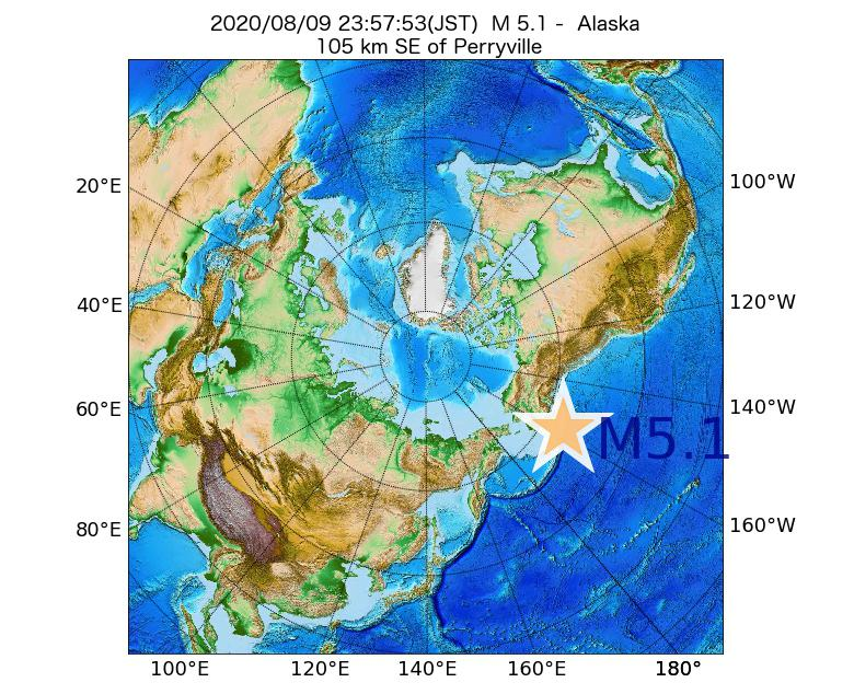2020年08月09日 23時57分 - アラスカ州でM5.1