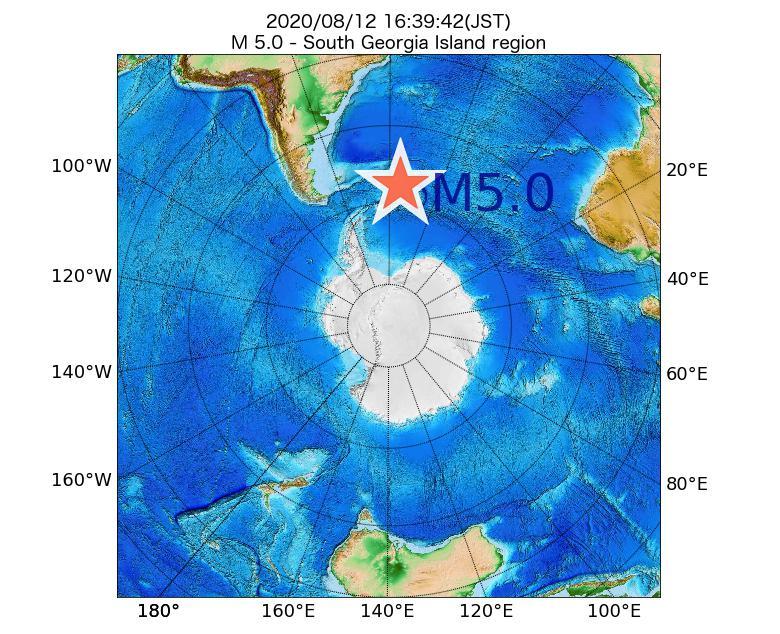 2020年08月12日 16時39分 - South Georgia Island regionでM5.0