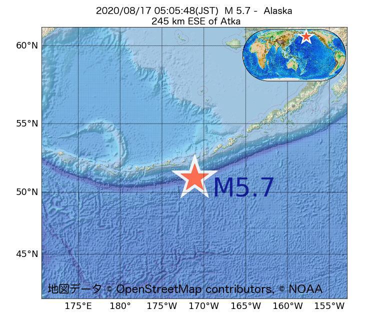 2020年08月17日 05時05分 - アラスカ州でM5.7