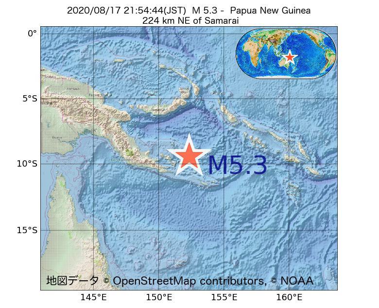 2020年08月17日 21時54分 - パプアニューギニアでM5.3