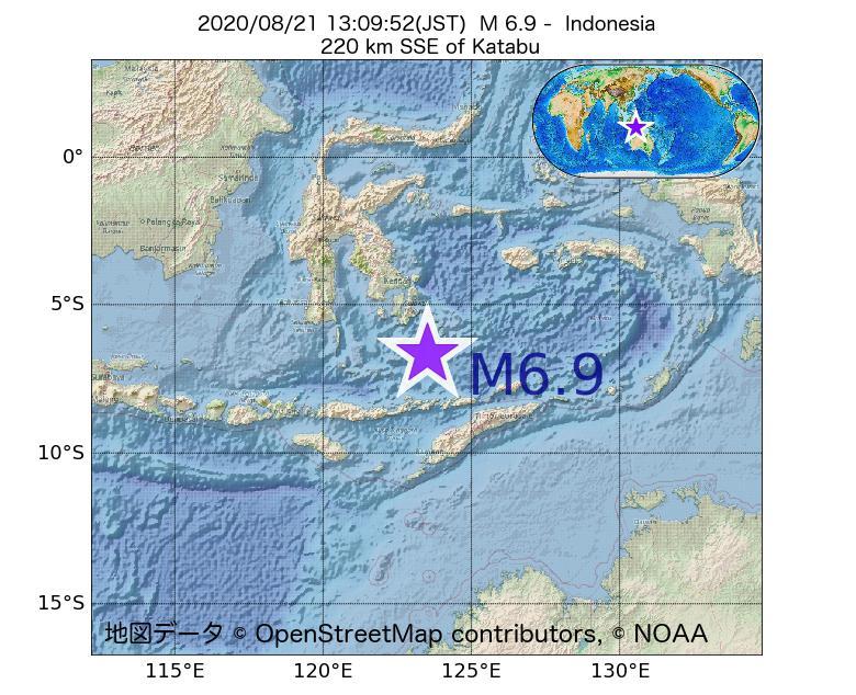 2020年08月21日 13時09分 - インドネシアでM6.9