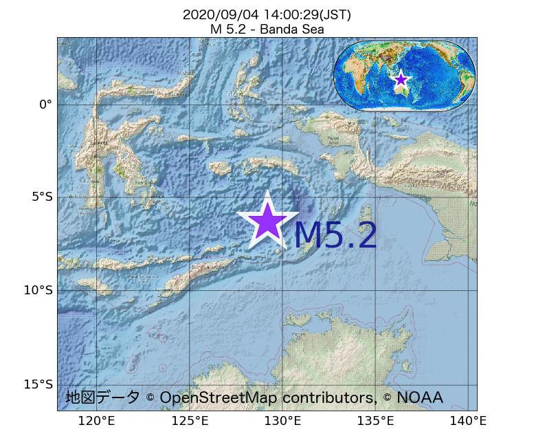 2020年09月04日 14時00分 - バンダ海でM5.2