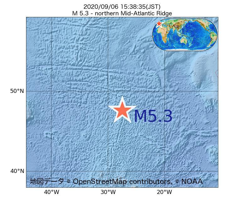 2020年09月06日 15時38分 - 大西洋中央海嶺北部でM5.3