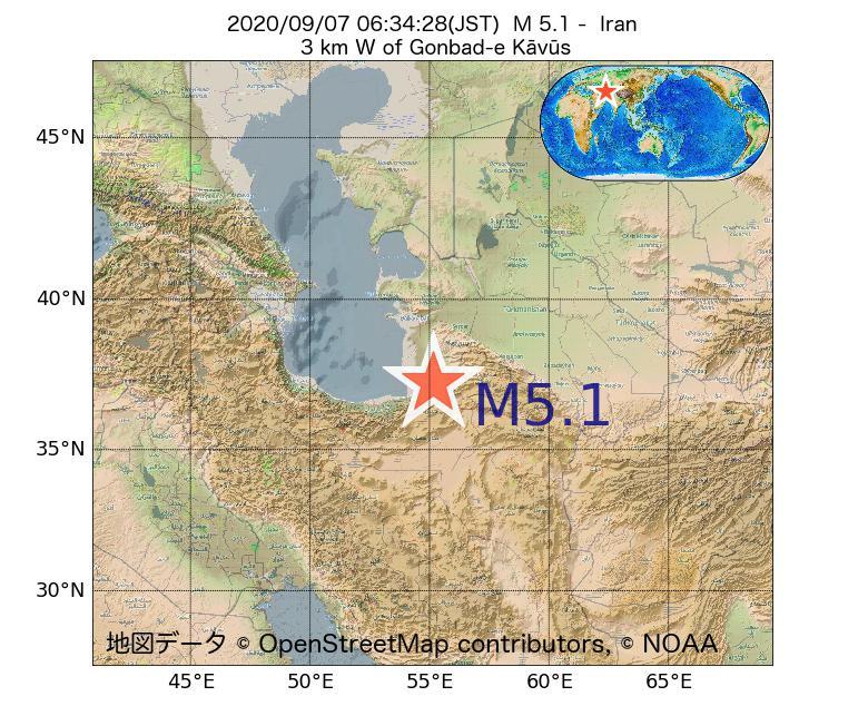 2020年09月07日 06時34分 - イランでM5.1