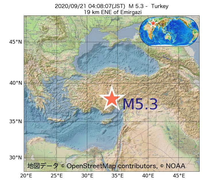 2020年09月21日 04時08分 - トルコでM5.3