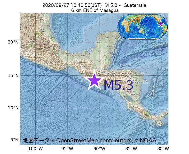 2020年09月27日 18時40分 - グアテマラでM5.3