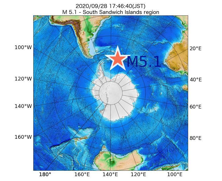 2020年09月28日 17時46分 - South Sandwich Islands regionでM5.1