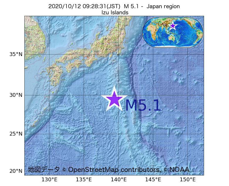 2020年10月12日 09時28分 - 日本周辺でM5.1