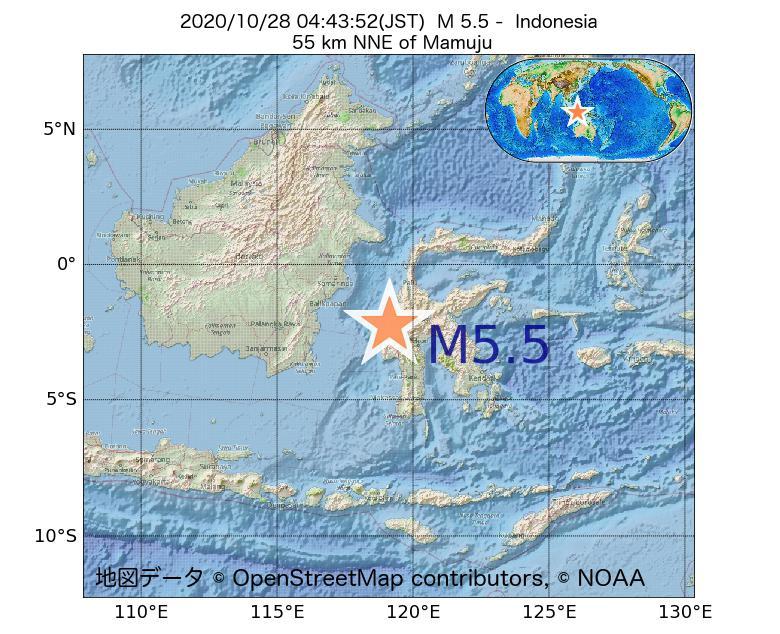 2020年10月28日 04時43分 - インドネシアでM5.5