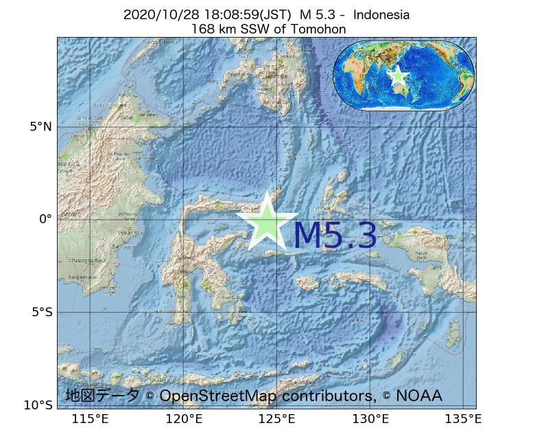 2020年10月28日 18時08分 - インドネシアでM5.3