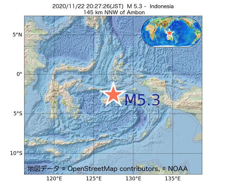 2020年11月22日 20時27分 - インドネシアでM5.3