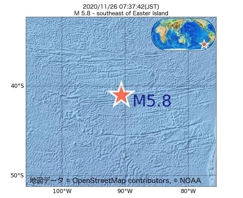 2020年11月26日 07時37分 - イースター島の南東でM5.8