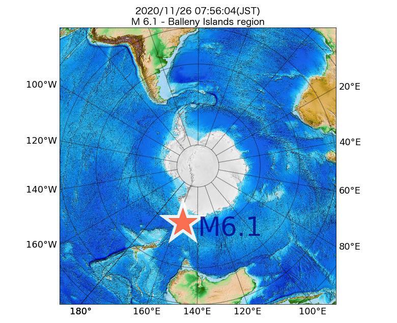 2020年11月26日 07時56分 - バレニー諸島でM6.1