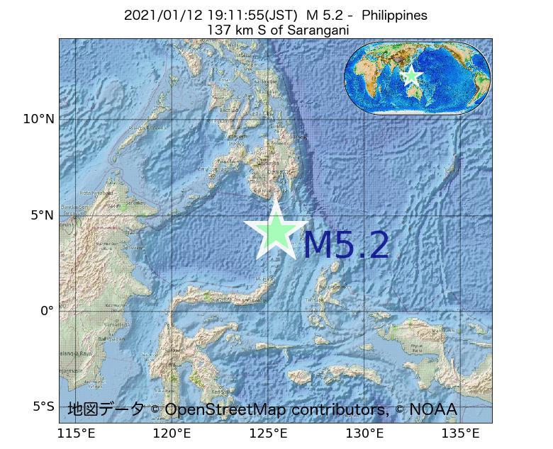 2021年01月12日 19時11分 - フィリピンでM5.2