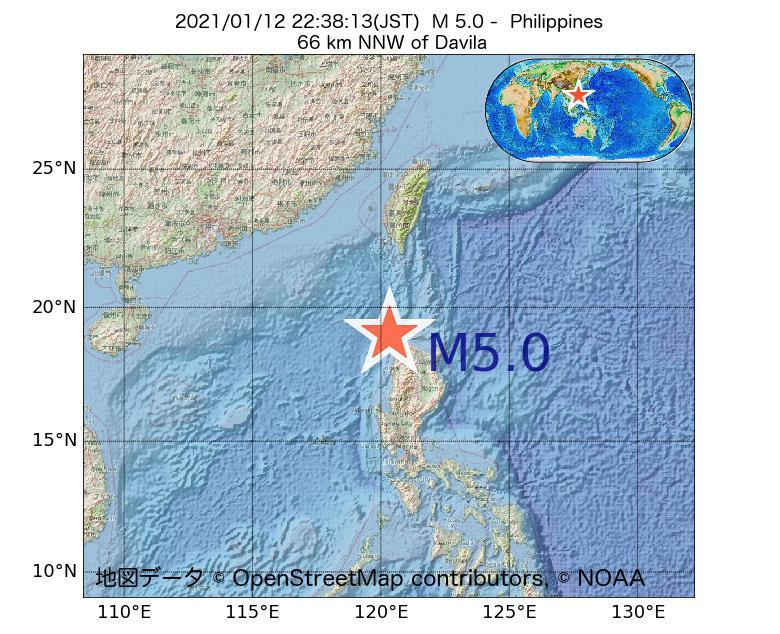 2021年01月12日 22時38分 - フィリピンでM5.0