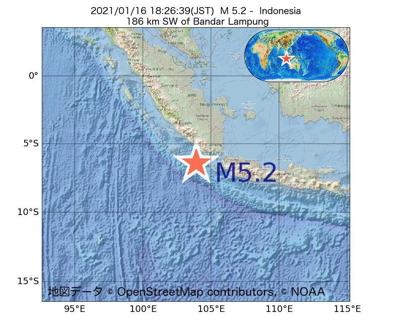 2021年01月16日 18時26分 - インドネシアでM5.2