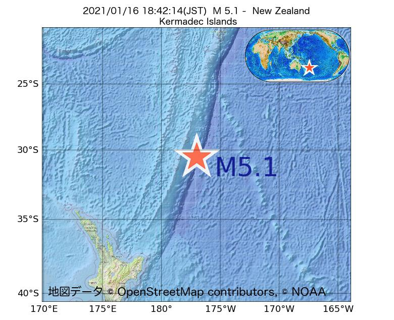 2021年01月16日 18時42分 - ニュージーランドでM5.1
