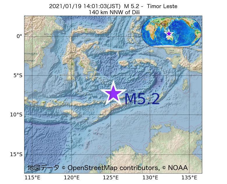 2021年01月19日 14時01分 - Timor LesteでM5.2