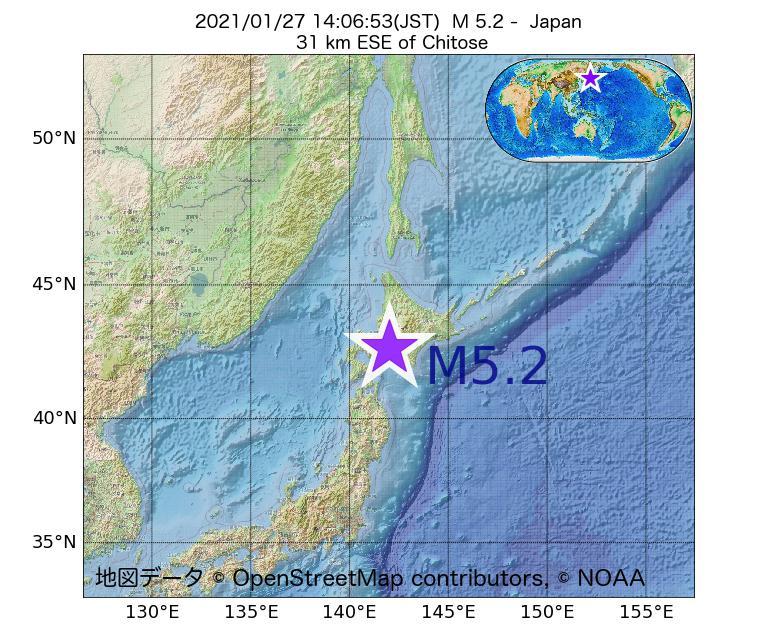 2021年01月27日 14時06分 - 日本でM5.2