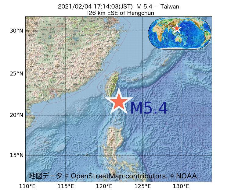 2021年02月04日 17時14分 - 台湾でM5.4