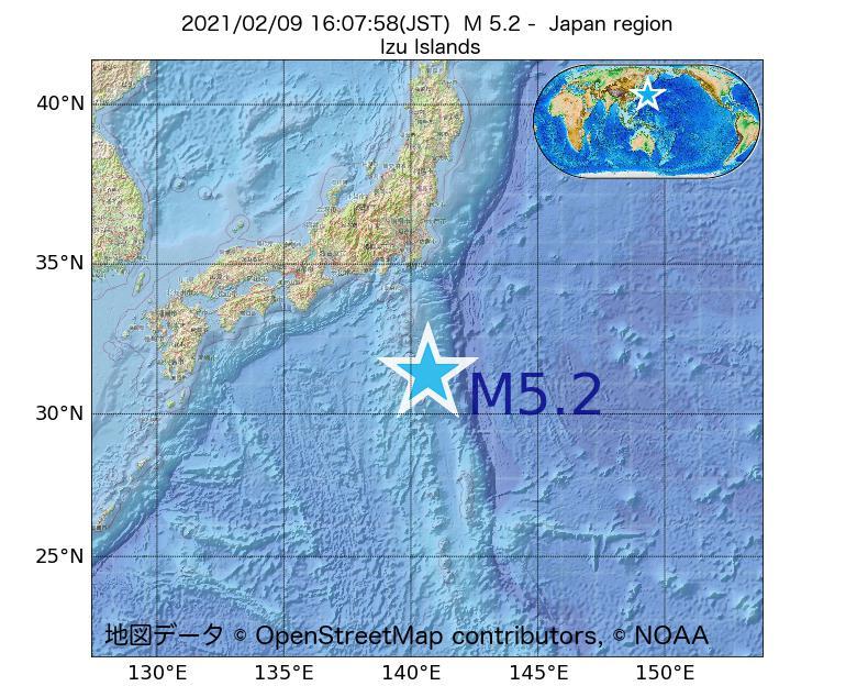 2021年02月09日 16時07分 - 日本周辺でM5.2