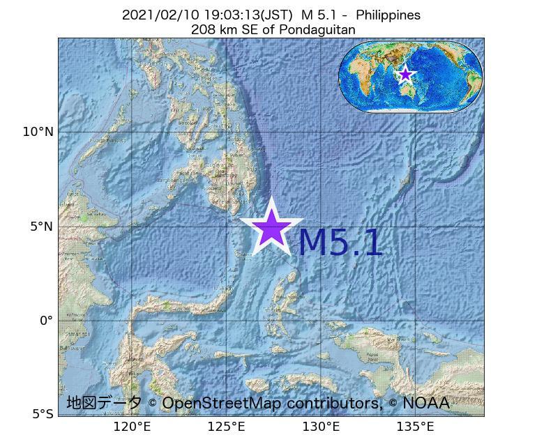 2021年02月10日 19時03分 - フィリピンでM5.1