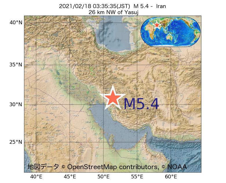 2021年02月18日 03時35分 - イランでM5.4