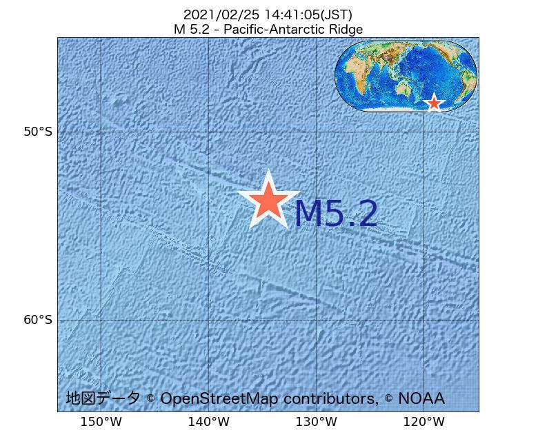2021年02月25日 14時41分 - 太平洋南極海嶺でM5.2