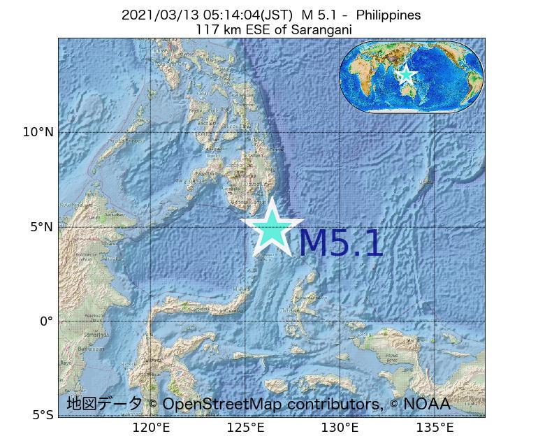 2021年03月13日 05時14分 - フィリピンでM5.1