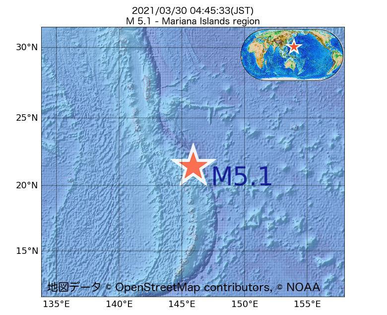 2021年03月30日 04時45分 - Mariana Islands regionでM5.1