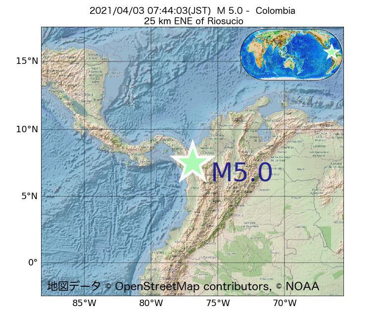 2021年04月03日 07時44分 - コロンビアでM5.0