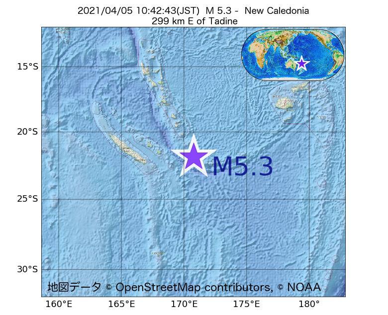 2021年04月05日 10時42分 - ニューカレドニアでM5.3