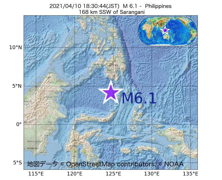 2021年04月10日 18時30分 - フィリピンでM6.1