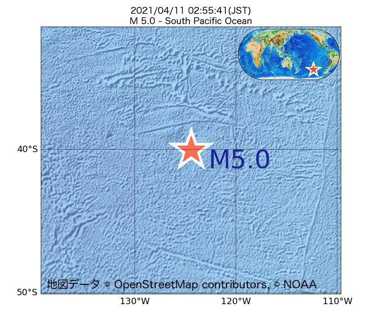 2021年04月11日 02時55分 - 南太平洋でM5.0