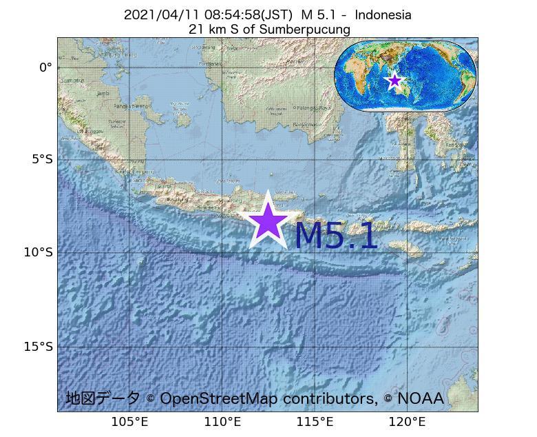 2021年04月11日 08時54分 - インドネシアでM5.1