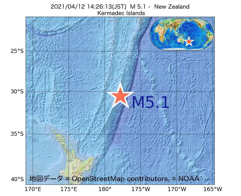 2021年04月12日 14時26分 - ニュージーランドでM5.1
