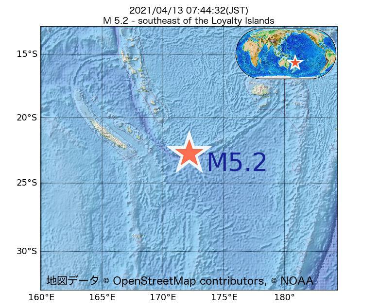 2021年04月13日 07時44分 - ロイヤルティ諸島の南東でM5.2