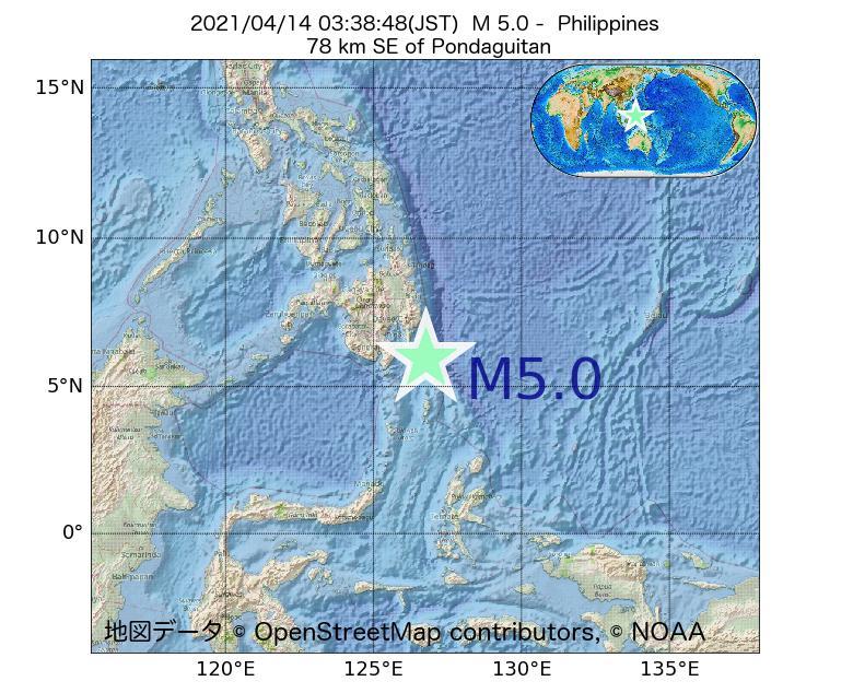 2021年04月14日 03時38分 - フィリピンでM5.0
