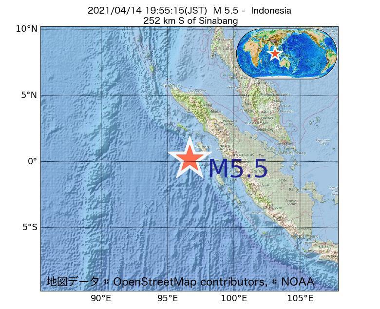 2021年04月14日 19時55分 - インドネシアでM5.5
