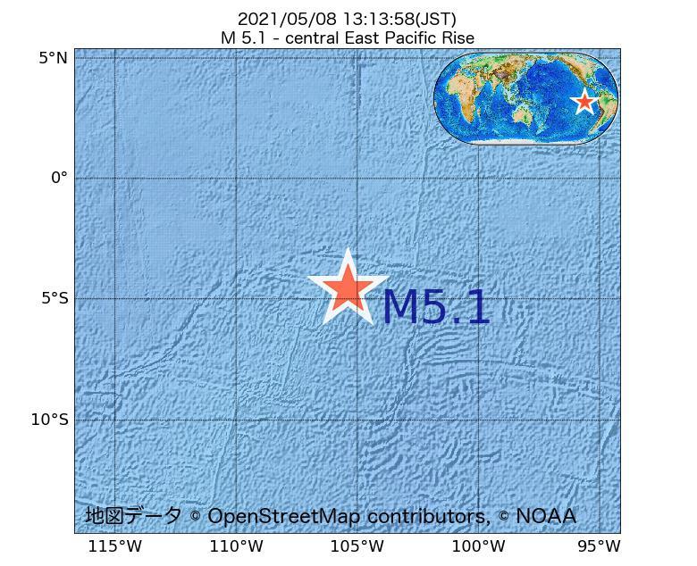 2021年05月08日 13時13分 - 中央東太平洋海嶺でM5.1