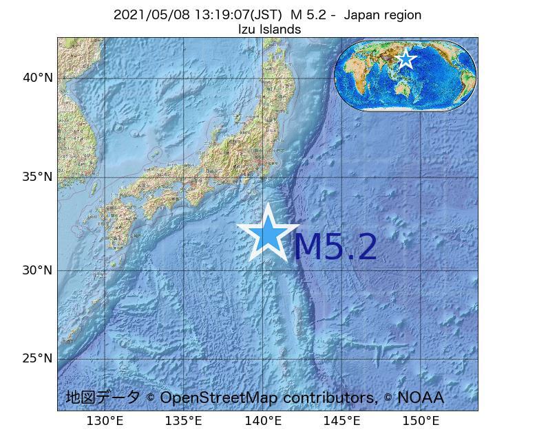 2021年05月08日 13時19分 - 日本周辺でM5.2