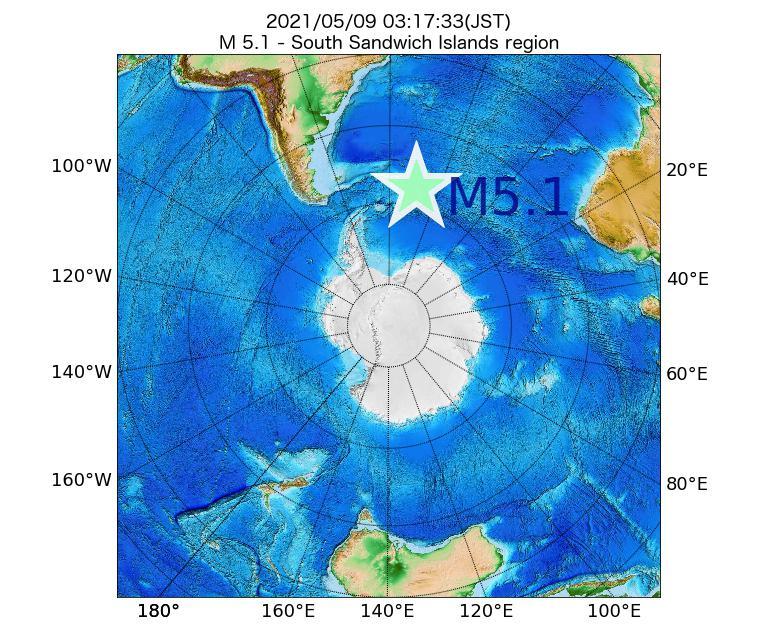 2021年05月09日 03時17分 - サウスジョージア・サウスサンドウィッチ諸島地域でM5.1
