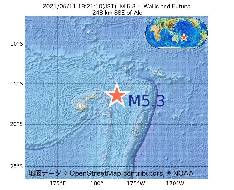 2021年05月11日 18時21分 - ウォリス・フツナ諸島でM5.3