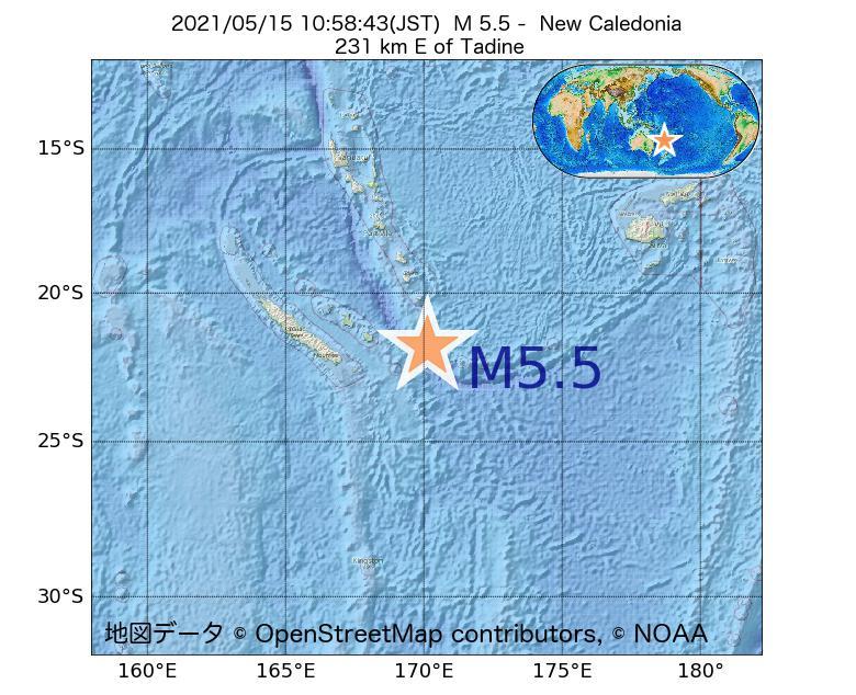 2021年05月15日 10時58分 - ニューカレドニアでM5.5