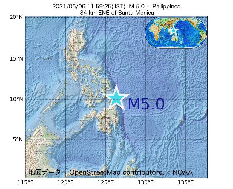 2021年06月06日 11時59分 - フィリピンでM5.0