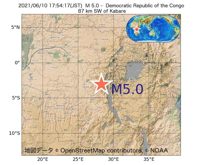 2021年06月10日 17時54分 - コンゴ民主共和国でM5.0