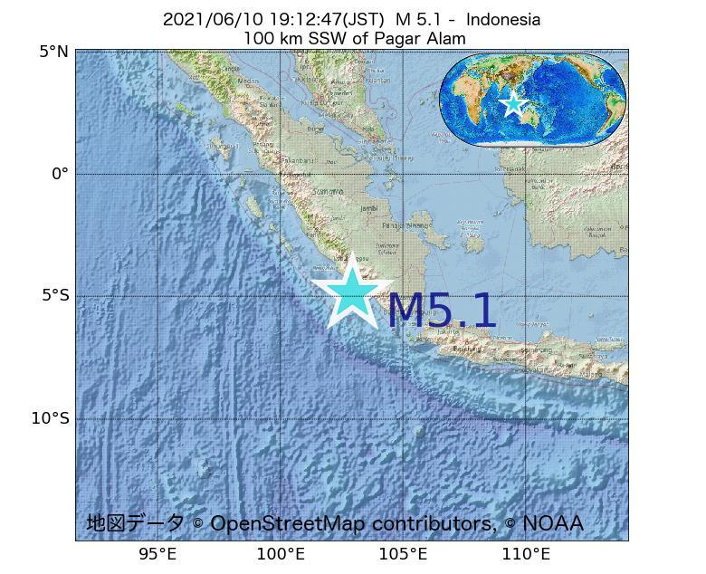 2021年06月10日 19時12分 - インドネシアでM5.1
