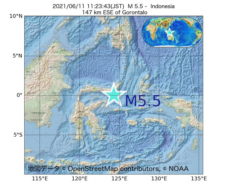 2021年06月11日 11時23分 - インドネシアでM5.5