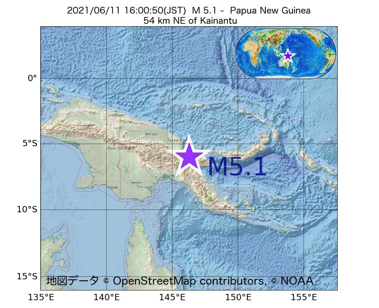 2021年06月11日 16時00分 - パプアニューギニアでM5.1