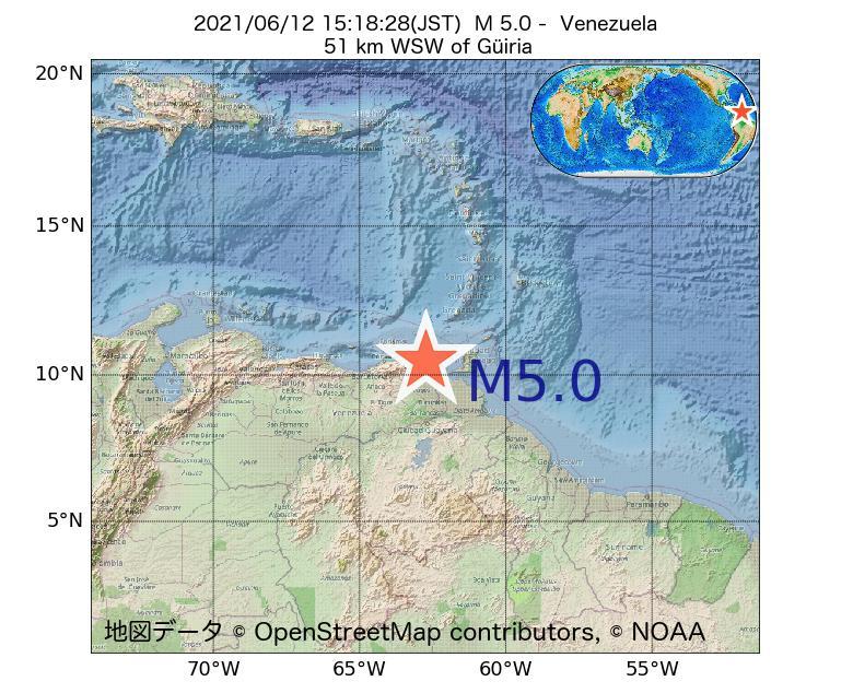 2021年06月12日 15時18分 - ベネズエラでM5.0